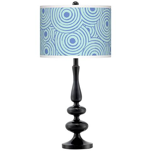 Circle Daze Giclee Paley Black Table Lamp