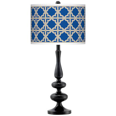 Four Corners Giclee Paley Black Table Lamp