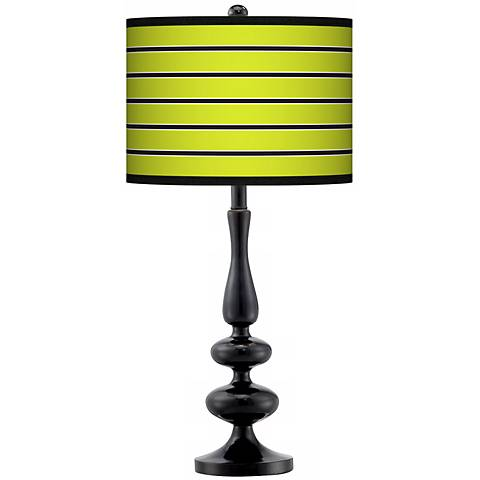 Bold Lime Green Stripe Giclee Paley Black Table Lamp