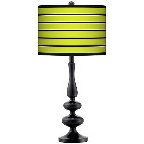 lime green stripe giclee paley black table lamp n5714 p9113 lamps. Black Bedroom Furniture Sets. Home Design Ideas