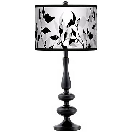 Three-Tone Leaves Giclee Paley Black Table Lamp