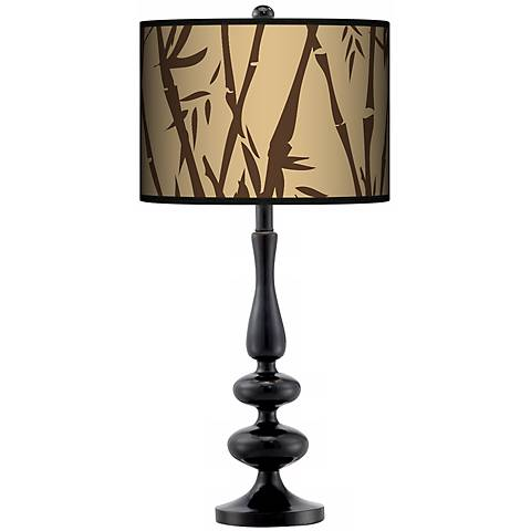 Earth Bamboo Giclee Paley Black Table Lamp