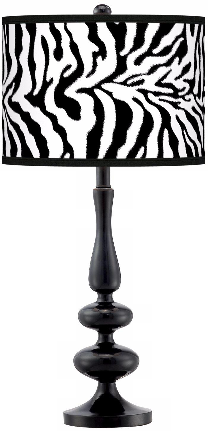 Beautiful Safari Zebra Modern Gloss Black Base Table Lamp