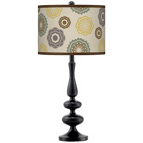 Ornaments Linen Giclee Paley Black Table Lamp
