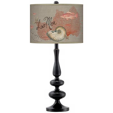 La Mer Seafan Giclee Paley Black Table Lamp