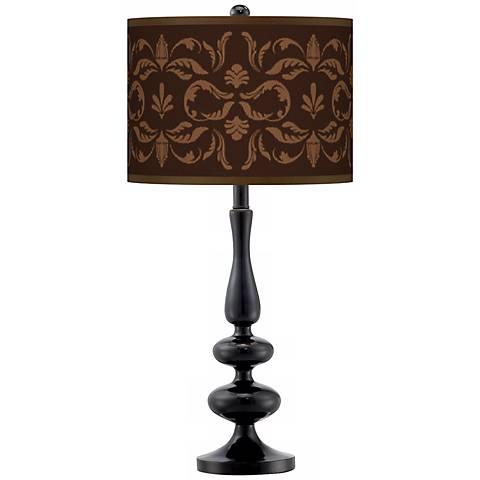 Mocha Flourish Linen Giclee Paley Black Table Lamp