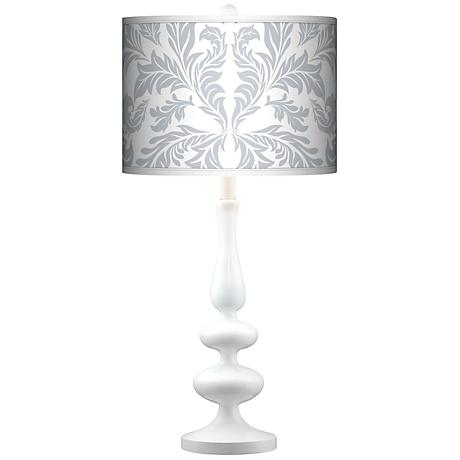 Silver Baroque Giclee Paley White Table Lamp