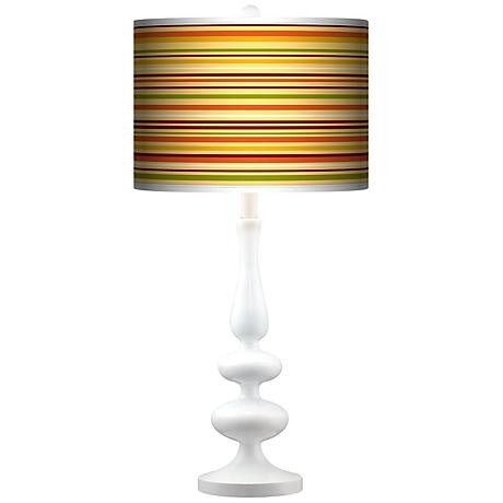 Stacy Garcia Harvest Stripe Giclee Paley White Table Lamp