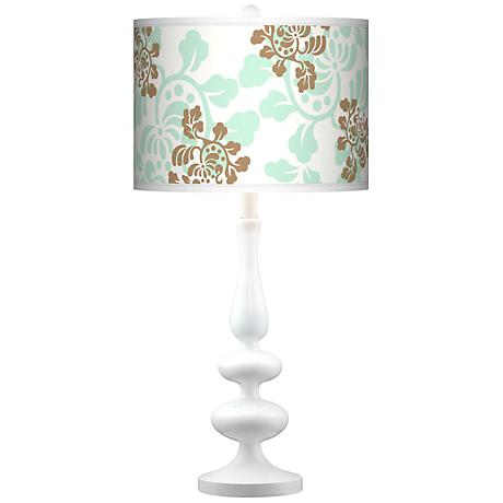Classic Mist And Taupe Giclee Paley White Table Lamp