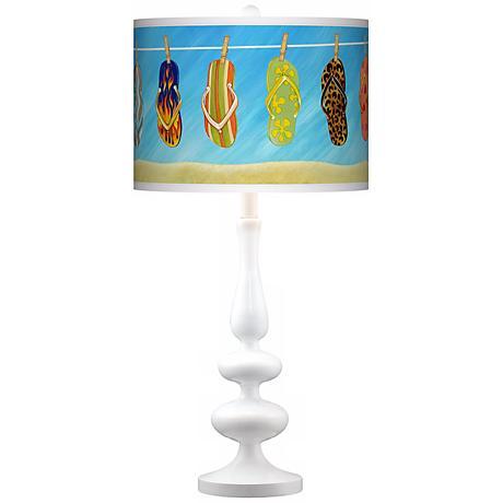 Summer Flip-Flops Giclee Paley White Table Lamp