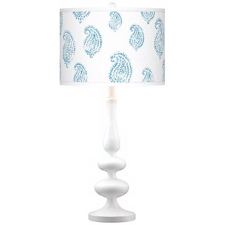 Paisley Snow Giclee Paley White Table Lamp