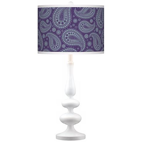 Purple Paisley Linen Giclee Paley White Table Lamp