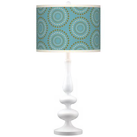 Blue Calliope Linen Giclee Paley White Table Lamp