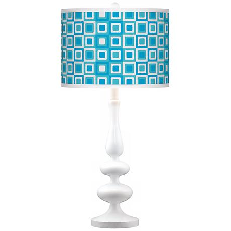 Blue Boxes Linen Giclee Paley White Table Lamp