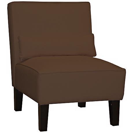 Chocolate Twill Armless Chair