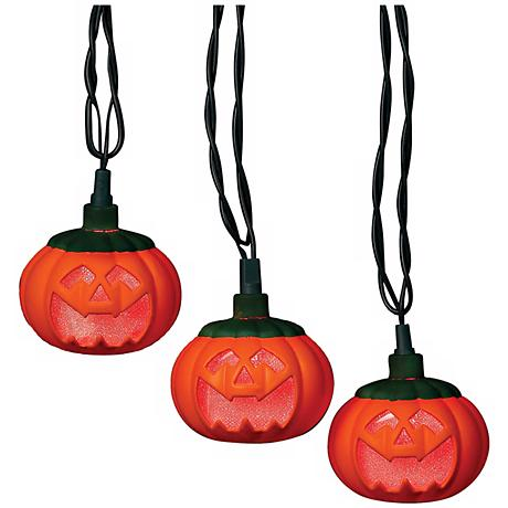 String Lights Lamps Plus : Pumpkins 10-Light String of LED Party Lights - #N6593 Lamps Plus
