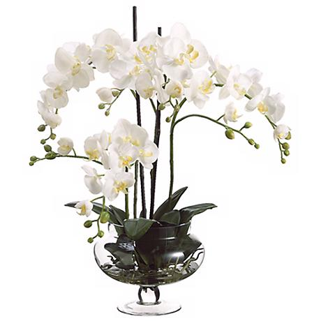 """Cream Orchids in Clear Glass Vase 25"""" High Faux Flowers"""