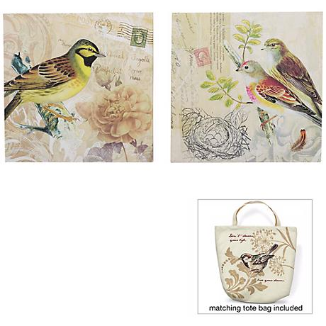 """Birds of a Feather 12"""" Square Set of 2 Wall Art"""