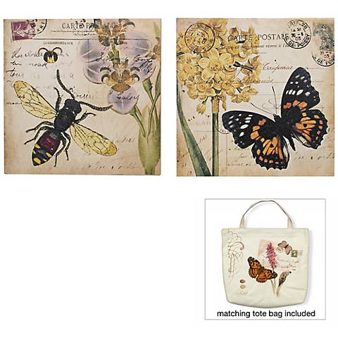 """Bee and Garden Butterfly 12"""" Square Set of 2 Wall Art"""