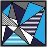 "Triangle Jazz 26"" Square Black Giclee Wall Art"