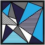 "Triangle Jazz 31"" Square Black Giclee Wall Art"