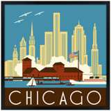 "Chicago II 31"" Square Black Giclee Wall Art"