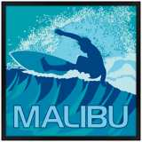 "Malibu Surfer 31"" Square Black Giclee Wall Art"