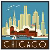 "Chicago II 37"" Square Black Giclee Wall Art"