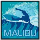 "Malibu Surfer 37"" Square Black Giclee Wall Art"