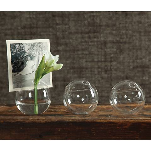 Set of 8 Mini Glass Bubble Placecard Holders