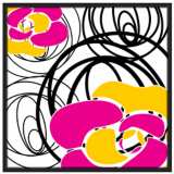 """Whirl 37"""" Square Black Giclee Wall Art"""