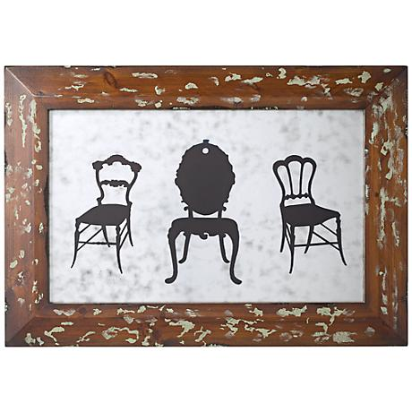 """3 Chairs Antique Mirror Glass 21 1/4"""" Wide Wall Decor"""