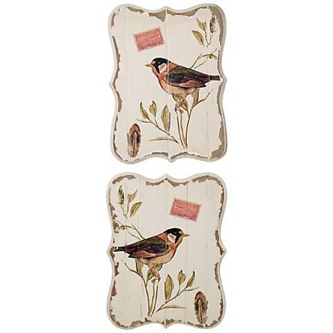 Set of 2 Botanical Bird Wooden Wall Decor