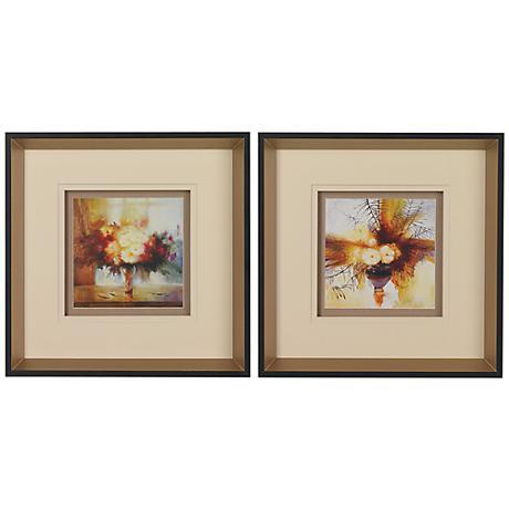 "Set of 2 Floral Still Life Prints 13"" Square Wall Art"