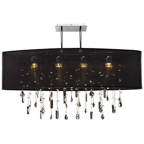 "Lifestyles 33"" Wide Oval Large Black Pendant Chandelier"