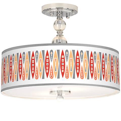"Vernaculis VI Giclee 16"" Wide Semi-Flush Ceiling Light"