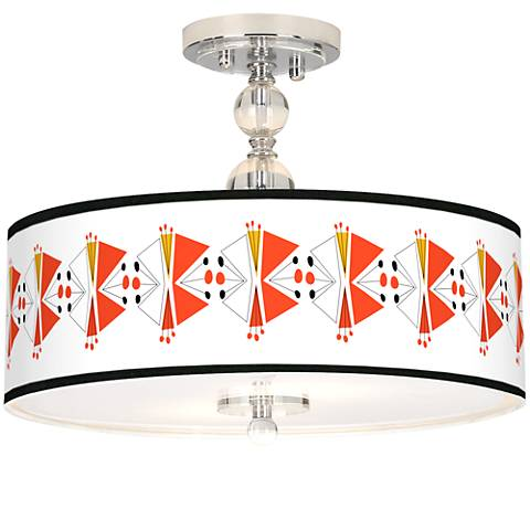 "Lexiconic III Giclee 16"" Wide Semi-Flush Ceiling Light"