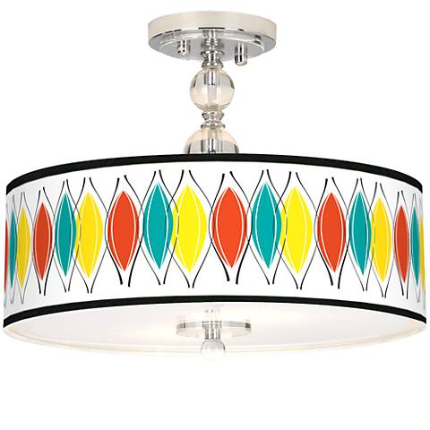 "Harmonium Giclee 16"" Wide Semi-Flush Ceiling Light"