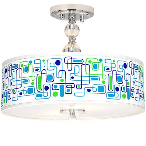 "Racktrack Giclee 16"" Wide Semi-Flush Ceiling Light"