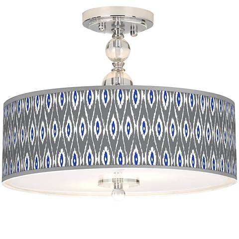 "American Ikat Giclee 16"" Wide Semi-Flush Ceiling Light"