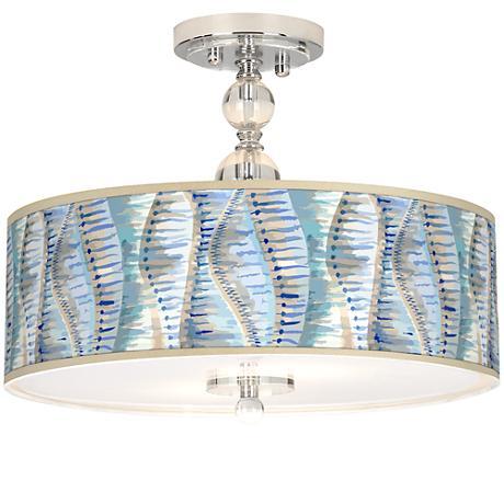 """Siren Giclee 16"""" Wide Semi-Flush Ceiling Light"""
