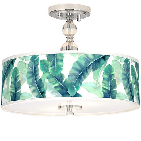 """Guinea Giclee 16"""" Wide Semi-Flush Ceiling Light"""