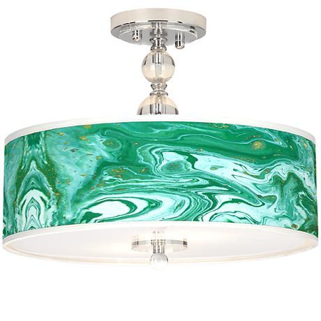 "Malachite Giclee 16"" Wide Semi-Flush Ceiling Light"
