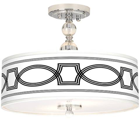 "Concave Giclee 16"" Wide Semi-Flush Ceiling Light"