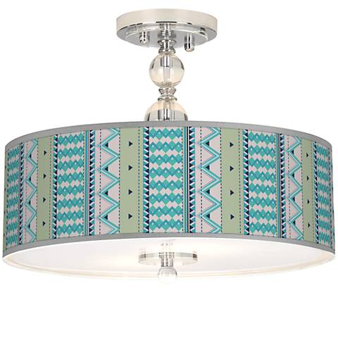 "Geo Metrix Giclee 16"" Wide Semi-Flush Ceiling Light"