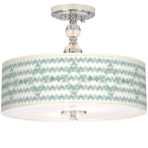 "Triangular Stitch Giclee 16"" Wide Semi-Flush Ceiling Light"