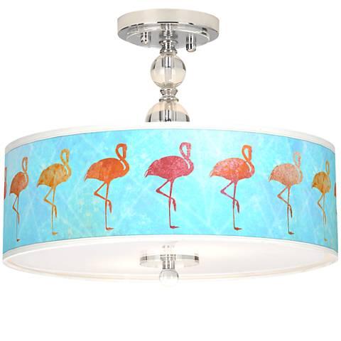 "Flamingo Shade Giclee 16"" Wide Semi-Flush Ceiling Light"