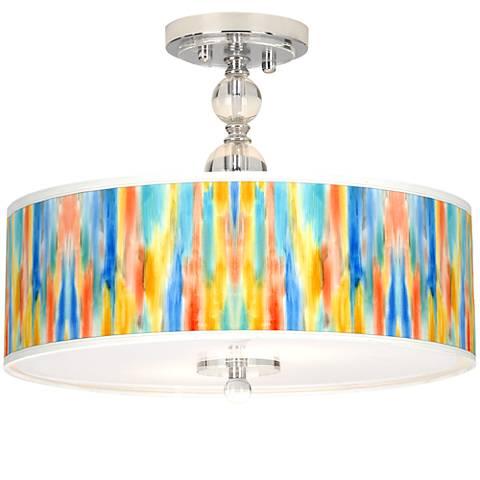 "Tricolor Wash Giclee 16"" Wide Semi-Flush Ceiling Light"