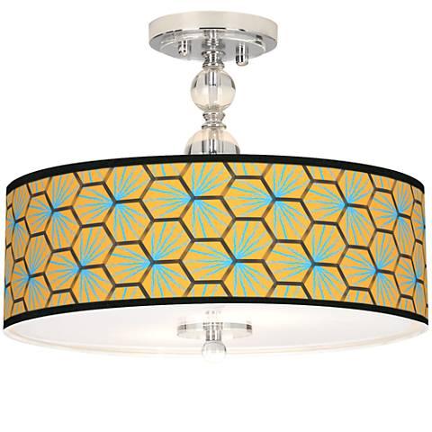 """Hexagon Starburst Giclee 16"""" Wide Semi-Flush Ceiling Light"""
