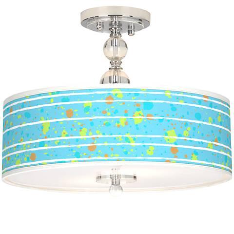 "Paint Drips Giclee 16"" Wide Semi-Flush Ceiling Light"